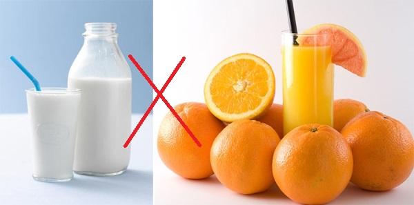 Một số thực phẩm không nên dùng chung với sữa